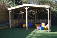 Playgroup Equipment - Large Shelter with Sides, Seating and Soma Cube