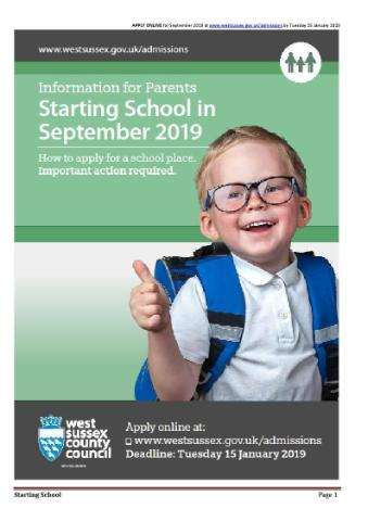 Starting School Sept 2019 Poster